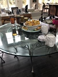 Round glass top entrance table