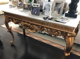 Gold & marble console tank with matching mirror