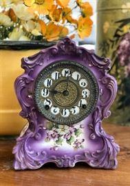 Vintage purple porcelain mantle clock