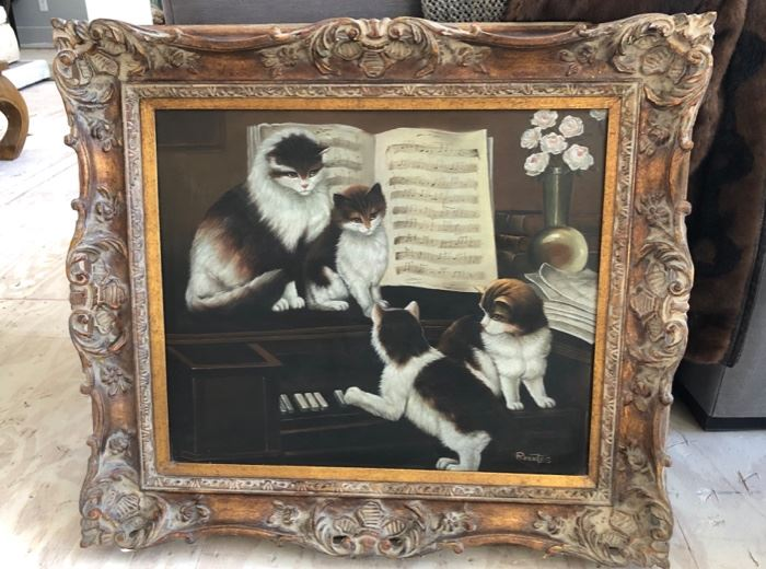 Cats playing piano vintage painting