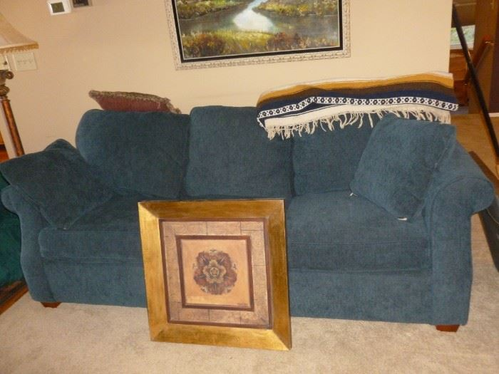 Blue Courderoy-type Sleeper Sofa