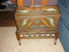 Painted Trunk on Stand