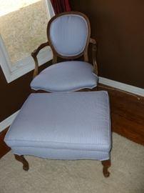 Striped Chair & Ottoman