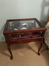 $40  Cherry finish glass top table