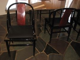 Contemporary granite top dining table, Rosewood & ebony dining chairs (8)