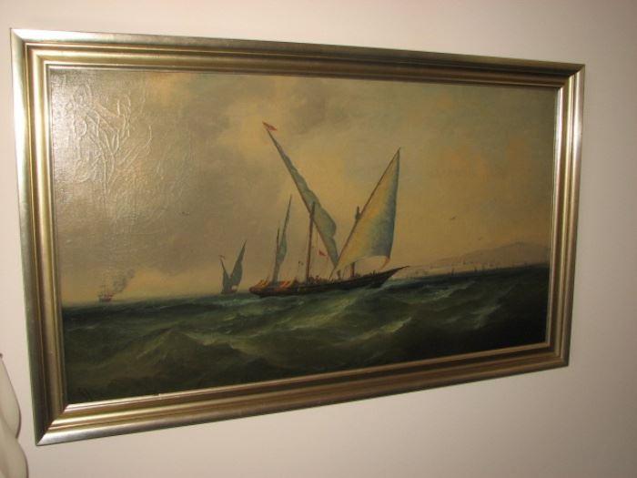 Oil on canvas - vessel set afire by Algiers pirates