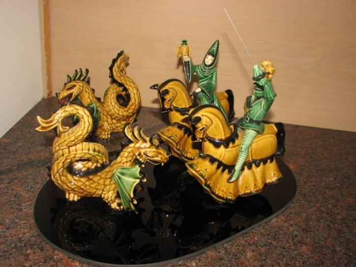 Fine porcelain sculpture - Knights & dragons