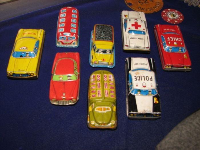 Tin litho toy cars, Sheaffer fountain pens