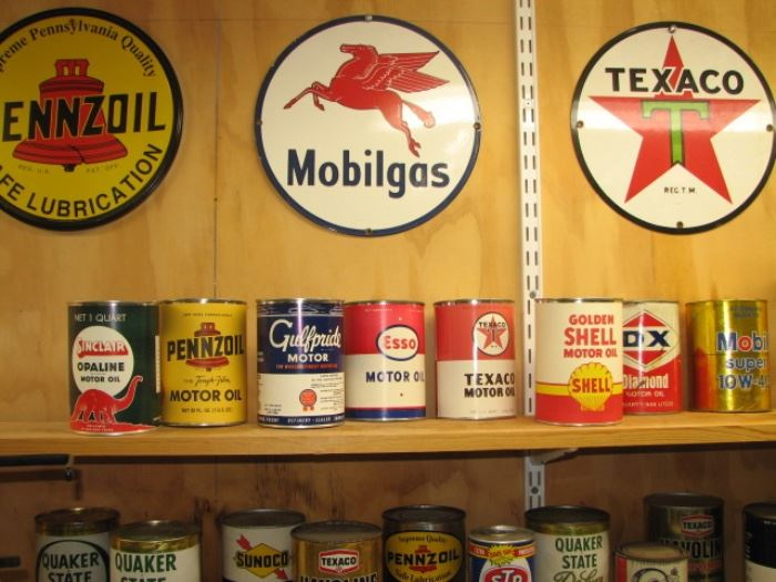 Vintage oil cans and petroleum advertising