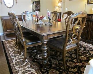 Buffet – Toms-Price Dining Table with six (6) Mates Chairs and two (2) Captains Chairs  with 2 leaves – Bernhardt Large Area Rug