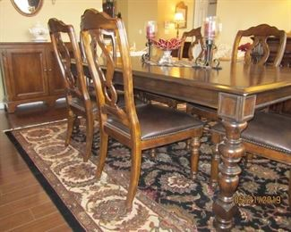 Buffet – Toms-Price Dining Table with six (6) Mates Chairs (leather with brass nail heads) and two (2) Captains Chairs  with 2 leaves – Bernhardt Large Area Rug