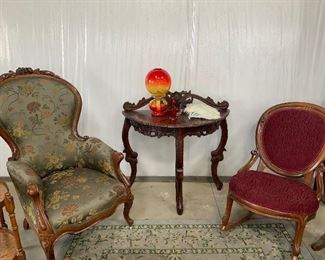 wing back chairs and half circle table