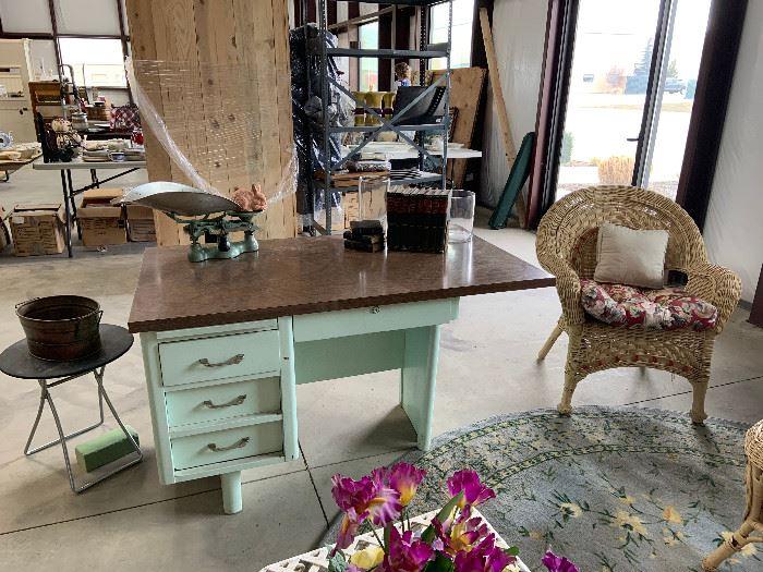 Vintage mint green desk