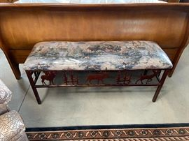 Nature themed iron upholstered bench