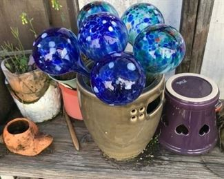 Blue Glass Plant Balls