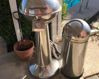Stainless Barbecue Grill and Trash Can
