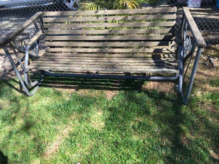 rocking redwood bench