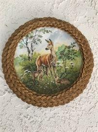 Framed deer plate