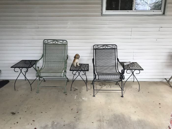 Iron patio chairs and side tables