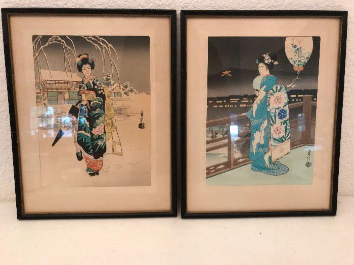 Framed Art-Japanese Geisha girls