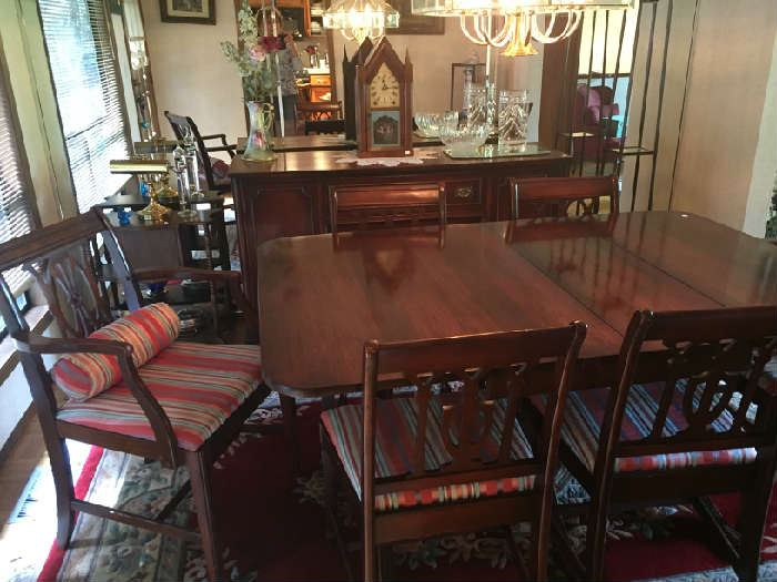Duncan Phyfe table and chairs, buffet.