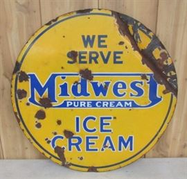 "24"" Porcelain Double Sided Midwest Ice Cream Sign"