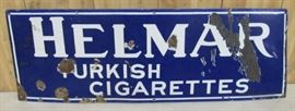 "12"" x 36"" Porcelain Helmar Turkish Cigarettes Sign"