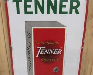 "18"" x 30"" Porcelain Churchman's ""TENNER"" Cigarettes Sign"