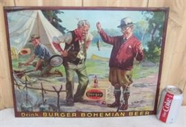 "15"" x 20"" Metal Drink Burger Bohemian Beer Sign (Has Original Cardboard Back Over Metal w/Company Mark)"