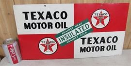 "1947 Metal Double Sided Texaco Motor Oil Sign - Measures: 11"" x 21 1/2"""