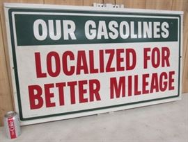 "24"" x 42"" - 1966 Metal Gasoline Mileage Sign"