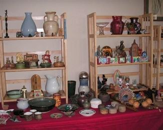 Pottery, Mexican souvenirs, hand made percussion instruments, Anri music boxes