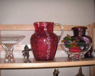 Art glass, Blenko, antique enameled cranberry pitcher
