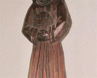 Hand carved wood saint