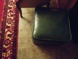 8 x10 Persian rug and leather stool