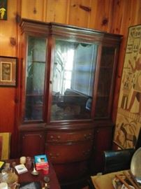 mahogany China Cabinet plus table and 6 chairs in good condition priced to sell