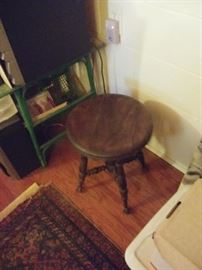 Green rattan table, piano stool ball claw feet with glass, more oriental  Persian rugs over 50 rugs