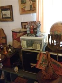 Original Ar thorough out house and 2 storage sheds. Pottery, vintage globes,
