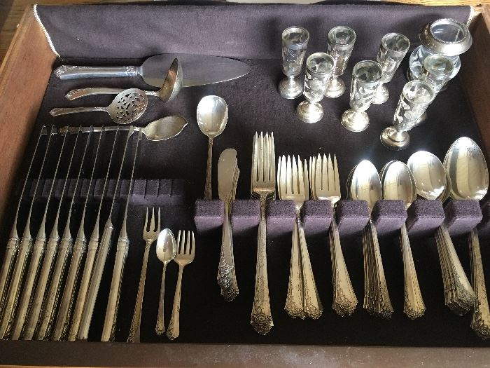 Heirloom Damask Rose Sterling Silver Flatware Set