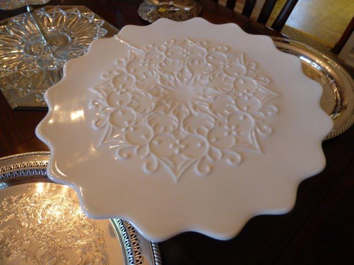 "Fenton ""Spanish Lace""  Milk Glass Cake Stand"