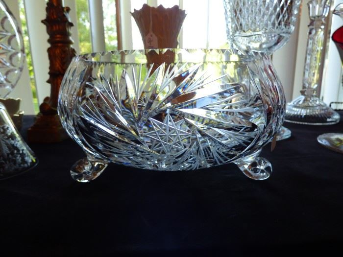 Heavy Crystal etched bowl