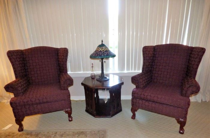 Pair of quality Wing Back Chairs, Tiffany Style stained glass lamp