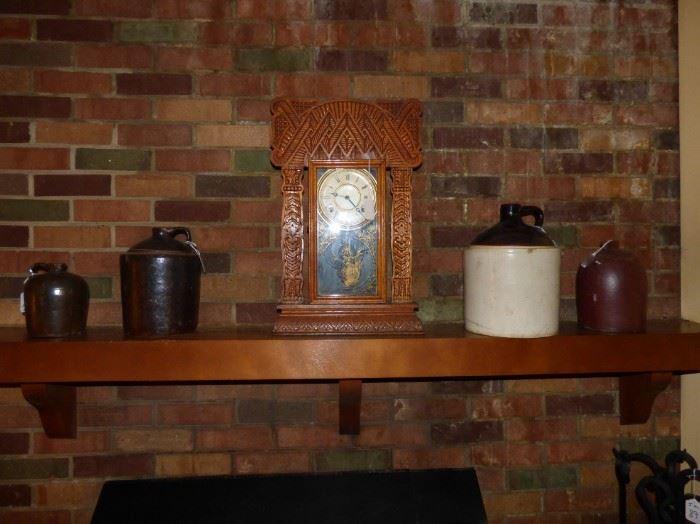 Southern Pottery Jugs, Antique oak kitchen mantle clock