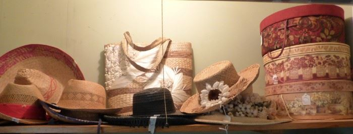 Straw hats, hat boxes, etc