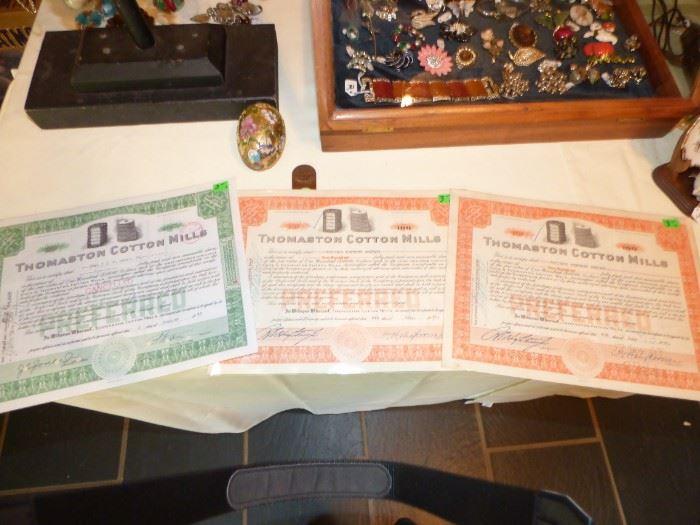 Old Thomaston Mill Stock Certificates
