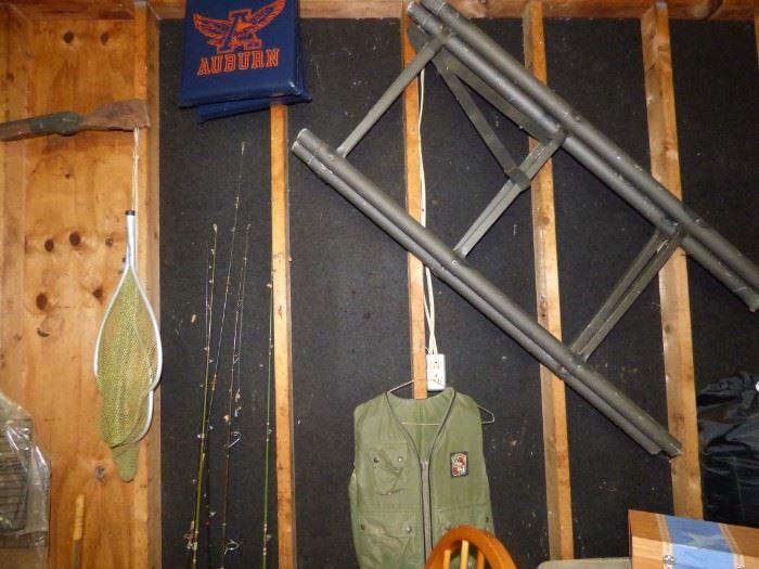 Fishing poles, nets, Deer Stand, etc