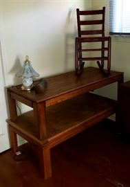 antique rocking chair and two newer oak coffee tables