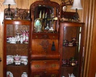 Fabulous oak side-by-side, architectural fretwork (just one of many), lamps, dresser jars, tri-fold mirrors, and more!