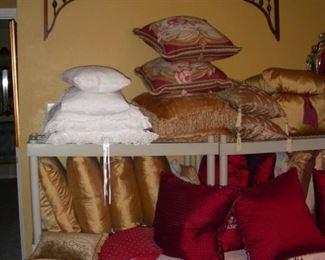 Decorative pillows, more architectural fretwork
