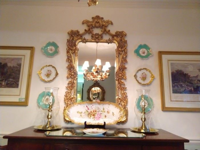 Vintage gilt wood, beveled glass mirror, set/4, hand painted French Limoges porcelain plates, huge hand painted French Limoges fish platter, with three matching serving plates.